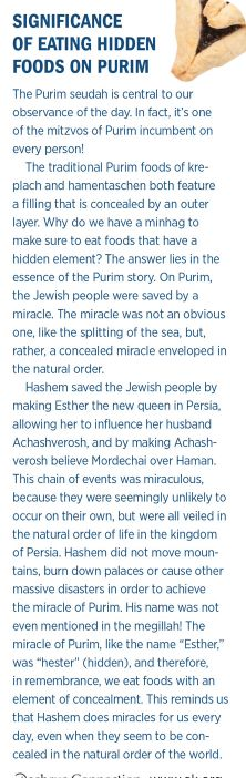Purim/ tradition of eating stuffed foods, like hamantaschen.