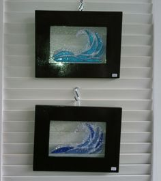 Framed fused glass waves - by Marusca Gatto Glassworks