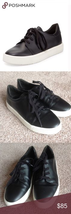 Vince bale low cut black leather sneakers In great used condition. Worn lightly.                   j Vince Shoes Sneakers