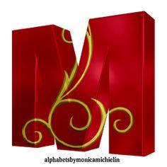 Alphabets by Monica Michielin: 3-RED ALPHABET AND GOLDEN ORNAMENT, #iloveyou, #love, #red, #heart, #Jesuslovesyou, #Jesus