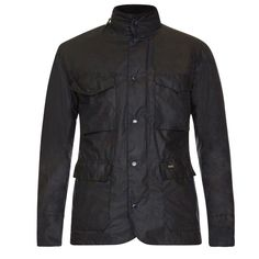 Barbour Men's Tailored Sapper Waxed Jacket Lightweight wax four pocket jacket with two way branded zip and studded front fastening. Stow away hood in collar stand detail. Draw cord at waistline. Inner jetted zip security pockets.