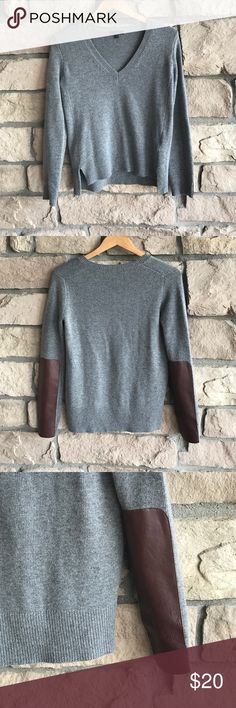 J Crew Wool Sweater W/Leather Accent on Sleeve🔹 J Crew Wool Sweater W/Leather Accent on Sleeve🔹. Great preowned condition. 42% wool 18% nylon 40% viscose. Sleeve patch is 100% leather. Dry clean only. J. Crew Sweaters V-Necks