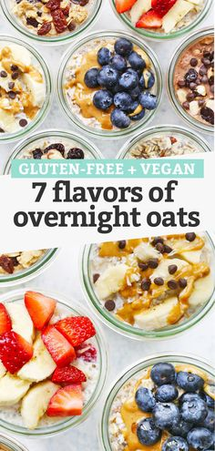 How to Make Overnight Oats + 7 Flavors of Overnight Oats to try! This easy meal prep breakfast is always a hit. (Gluten-free, Vegan) // Meal Prep Breakfast // Overnight Oats Recipe // Healthy Breakfast #glutenfree #overnightoats #oatmeal #dairyfree #healthybreakfast #mealprep #vegan