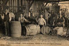 Tonneliers. Les resiniers utilisaient des tonneaux en bois pour conserver la collophane.