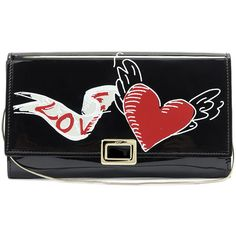 Roger Vivier Love Tattoo Mini Buckle Wallet-on-Chain (2,095 BAM) ❤ liked on Polyvore featuring bags, wallets, black, mini wallet, flap bag, roger vivier, mini chain bag and heart wallet