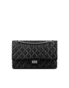 601648471ba 2.55 flap bag, aged calfskin & ruthenium metal-black & burgundy -