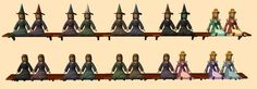 "These are decorative dollies based on the dolls converted from ""The Sims Medieval,"" and recolored.  A few were modified to look like witches for your little girls to enjoy."
