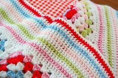 hopscotch lane: Granny Square Blanket  - love the color scheme