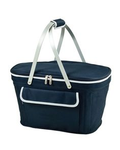 Navy blue picnic cooler: Thermal shield insulated picnic basket to keep food and drinks at the perfect temperature for hours. Constructed with a sewn in lightweight aluminum frame and handles. Leak proof, with a food safe lining. Zippered lid, padded hand grip, and front pocket.