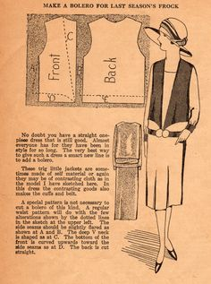 The Midvale Cottage Post: Home Sewing Tips from the 1920s: Freshen Last Season's Frock with a Trig Little Jacket