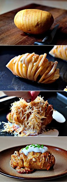 Another creative and delicious recipe. Potatoes with garlic and cheese sounds amazing and the picture looks sooo tasty. If you are bored of the classic potatoes recipes,(Creative Vegetable Recipes) I Love Food, Good Food, Yummy Food, Hasselback Potatoes, Cook Potatoes, Baked Potatoes, Stuffed Potatoes, Cheese Potatoes, Seasoned Potatoes