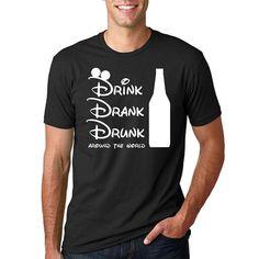 "Disney Epcot Drinking Shirt // ""Drink Drank Drunk around the world"" // Epcot Drinking around the World Showcase // Disney Drinking Shirt Fort Rucker, Winnie The Pooh Shirt, Warrant Officer, Drinking Around The World, Drinking Shirts, Tee Shirts, Tees, Crew Neck Shirt, Army"