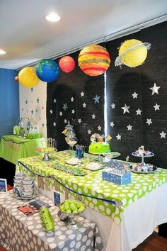 Astronaut Themed Birthday Party from outer space. Stars, planets, neon and fun!