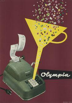 bleistift-und-radiergummi:    Hans Lohrer 'Olympia Rechenmaschine' Germany 1954