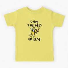 """""""Save the Bees! Or Else..."""" Kids T-Shirt by grumblebeeart 