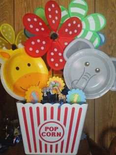 "Table center piece for "" Big Top Circus Birthday Party""."