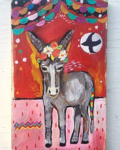 A personal favorite from my Etsy shop https://www.etsy.com/listing/475829146/contemporary-folk-art-donkey-painting-on