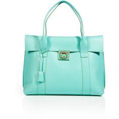 SALVATORE FERRAGAMO Turquoise Leather Sookie Tote ($1,465) ❤ liked on Polyvore