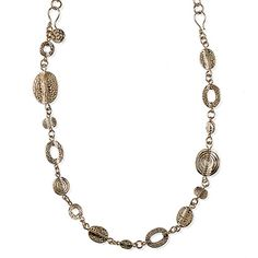 GOLD DESIRE Item #: USML100054 An intriguing mix of spiral, hammered and stippled gold hoops and discs make this a simple, yet diverse piece that's attractive as a necklace, boot bling or bracelet. Also available in silver. Your Price:$49.00