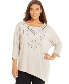 INC International Concepts Plus Size Studded Dolman-Sleeve Top, Only at Macy's