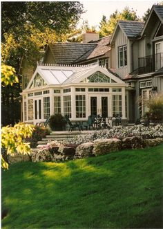 Sunroom - Conservatory - solarium What a beautiful backyard Future House, My House, Dutch House, House On A Hill, Style At Home, House Goals, Traditional House, Traditional Exterior, Traditional Design