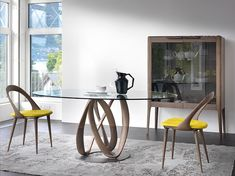 Porada Infinity Table from Lime Modern Living. Find a range of modern and contemporary furniture featuring the best European brands. Glass Round Dining Table, Dining Room Table, Dining Chairs, Round Glass, Glass Table, Console Tables, Decoration Design, Deco Design, Contemporary Dining Table