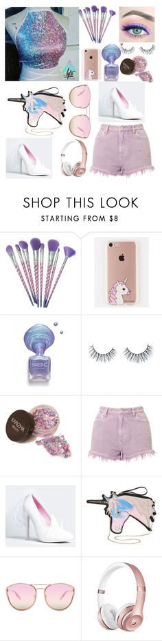 """""""People say unicorns aren't real but I'm here"""" by lannaslayallday ❤ liked on Polyvore featuring The Casery, Unicorn Lashes, Miss Selfridge, Y.R.U., Charlotte Russe and Quay"""