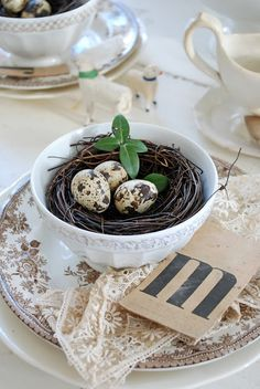 pretty spring setting with brown transferware -- Wouldn't this be a pretty place setting for Easter?  For the eggs, use those yummy, speckled truffle eggs that Williams-Sonoma sells.