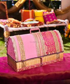 Looking for Bridal trousseau trunk with gota work? Browse of latest bridal photos, lehenga & jewelry designs, decor ideas, etc. on WedMeGood Gallery. Wedding Gift Wrapping, Wedding Favours, Wedding Cards, Wedding Gifts, Wedding Ceremony, Ramadan Decorations, Handmade Decorations, Wedding Decorations, Desi Wedding Decor