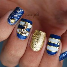 Top 150 Anchor Nail Art Designs , The second part - Anchor Nail Designs, Nautical Nail Designs, Anchor Nail Art, Nautical Nail Art, Nail Art Designs, Nautical Theme, Nails Gelish, Sea Nails, Cruise Nails