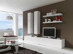Contemporary Storage System With Shelves and Vertical Wall Units in White or Black High Gloss
