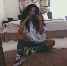 ... black and white high top vans outfit ...
