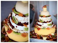 "Let them eat cake? If a traditional wedding cake is not your style, cut into this cheese and fruit ""cake."""