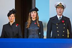 The Duchess of Cambridge, with the Countess of Wessex and Vice Admiral Tim Laurence, watched from a balcony