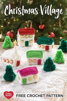 Yarnspirations Christmas Village free crochet pattern in Super Saver yarn. This small crocheted village adds nosta Christmas Crochet Blanket, Christmas Crochet Patterns, Crochet Christmas Ornaments, Christmas Crafts, Christmas Mantles, Christmas Things, Christmas Christmas, Crochet Mittens Free Pattern, Free Crochet