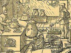 Old drawing of distillation of essential oils. Source: essentialoils.co.za/distillation.htm