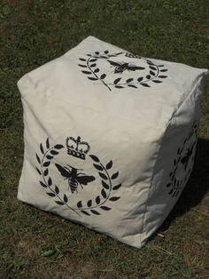 Pouf  18 x 18  Bee with Laurel Wreath by GreenMountainBoHo on Etsy, $130.00