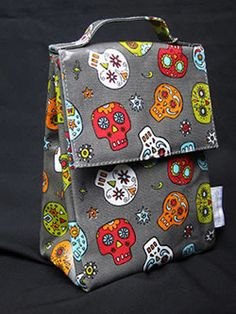 Grey Insulated Lunch Bag with lots of colorful sugar skulls