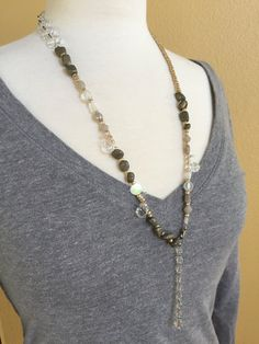 Rock and Crystal Assemblage Necklace by ClayRoadRepurposed on Etsy