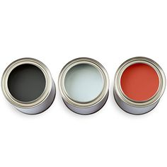 The Colors: Midnight Oil, 1631, Blue Lace, 1625, Cornwallis Red, CW315; all Benjamin Moore.