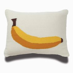 Banana Pillow by Jonathan Adler: Hand-loomed wool with feather/down insert. $98 #Pillow #Banana #Jonathan_Adler