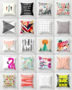 society 6 cushions - love mixing it up with different colours and themes.