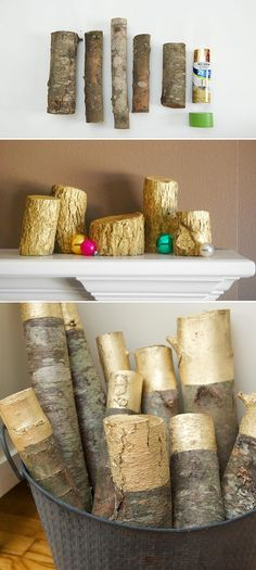 20 Spray Painted Decorations for Christmas Will Save You Money If You Love the Look of Firewood in a Room Especially in Winter, Then Pull Out Some Gold Spray Paint to Do These Decorative Logs. Metallic Spray, Silver Spray Paint, Outdoor Christmas Decorations, Christmas Diy, Holiday Decor, Spray Paint Crafts, Diy Arts And Crafts, Living Room Decor, Bedroom Decor