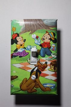 Retro Mickey Mouse Minnie Mouse Picnic Light Switch Cover child kids room decor