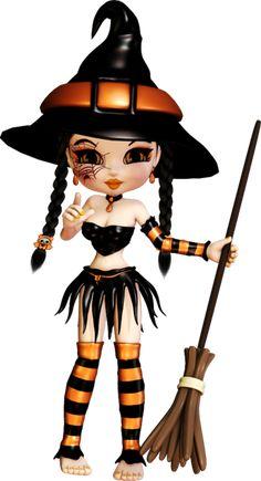 tubes halloween - sorcière - cookie sorcière chaudron adorable chat noir assis sur sa citrouille
