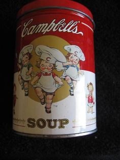 Campbell's Soup Tin with Puzzle Dancing Chefs Vintage Collectible