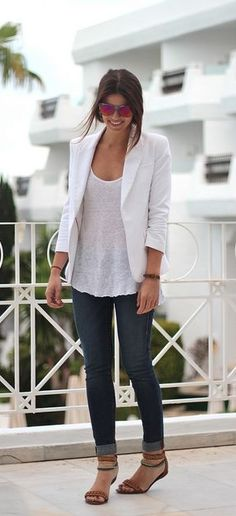 Pull together your simple day look with a white blazer.