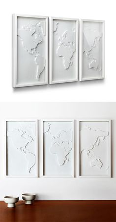Display your love for travel and culture with this three-panel relief-molded world map. With a minimalist aesthetic, it will be a wonderful focal point for your living room or bedroom.  Find the 3 Pc. World Map in White, as seen in the White Washed Industrial Collection at http://dotandbo.com/collections/white-washed-industrial?utm_source=pinterest