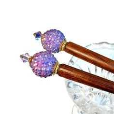 Hairsticks Lavender Hair Accessories Gifts For Her by BluKatDesign