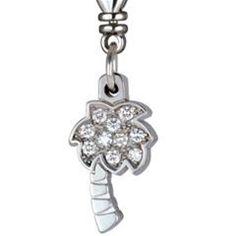 Diamond Charm Necklace Bracelet Palm Tree
